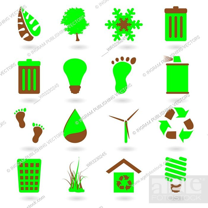Stock Vector: Collection of two tone eco green icons with shadow.