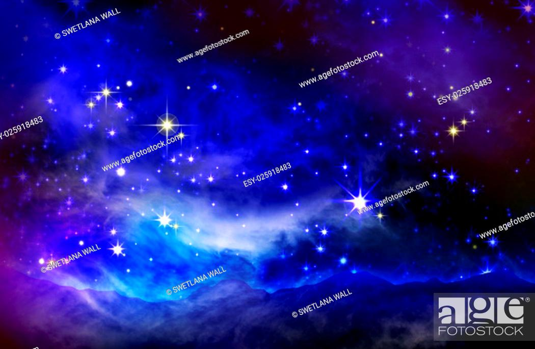 Imagen: Stars in the night sky, blue background.Galaxy stars. Abstract space background. Milky Way in the mountains.