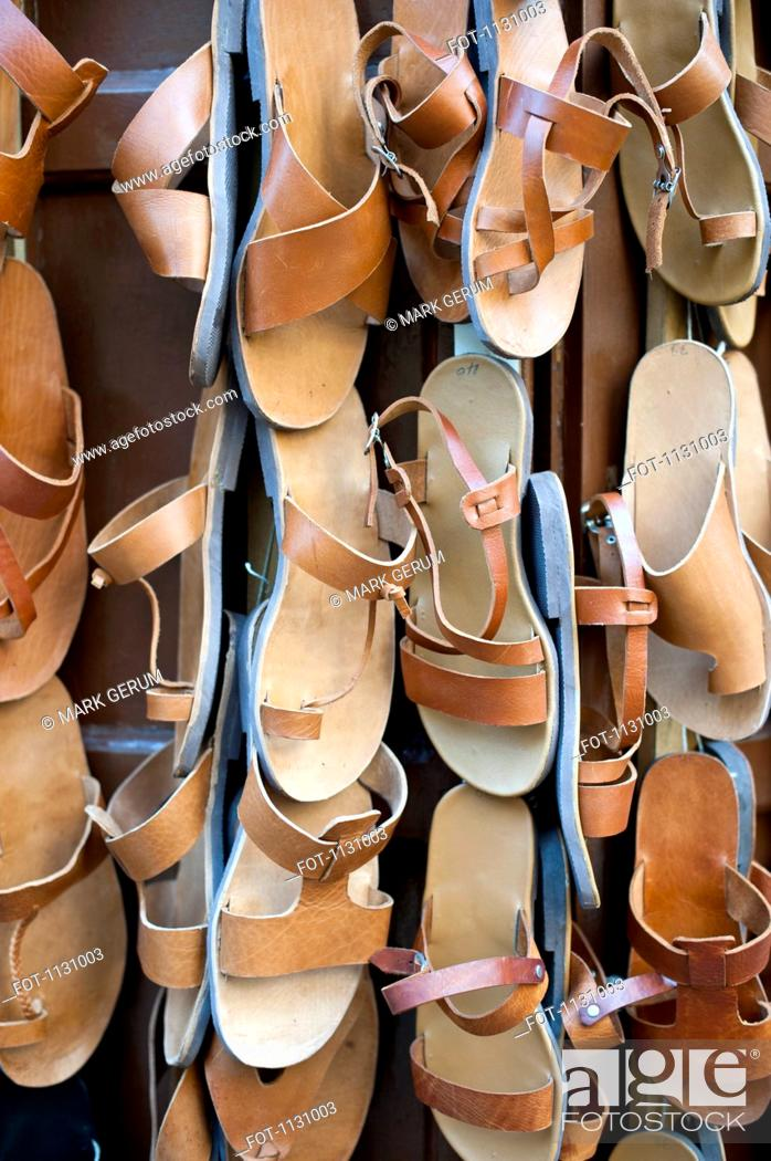 Stock Photo: Traditional leather sandals for sale, Rhodes Town, Greece.