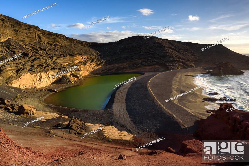 Stock Photo: El Golfo, the green lagoon, Lanzarote, Canary island, Spain, Europe.