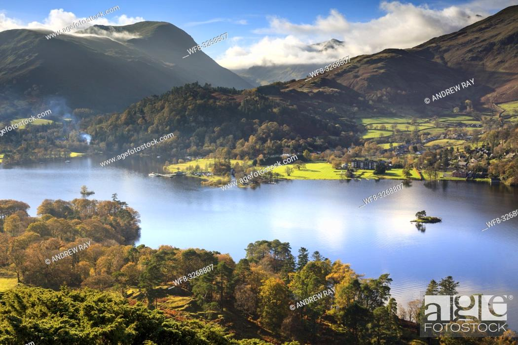 Stock Photo: Ullswater in the Lake District National Park, captured from near the summit of Silver Crag on a still morning in early November.