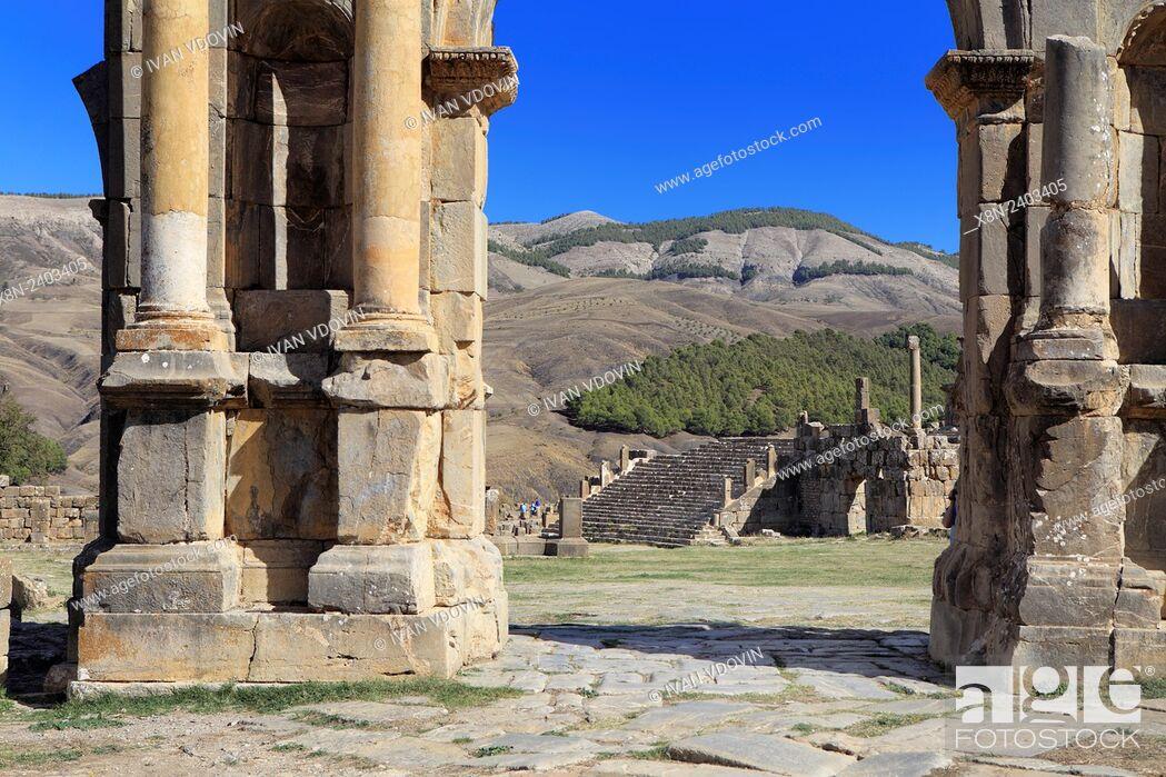Stock Photo: Caracalla arch, Ruins of ancient city Cuicul, Djemila, Setif Province, Algeria.
