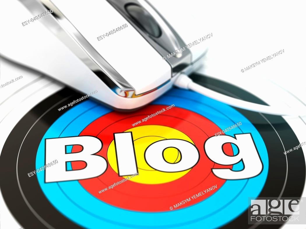 Stock Photo: Blog concept. Mouse on the target with text. DOF effect 3d.