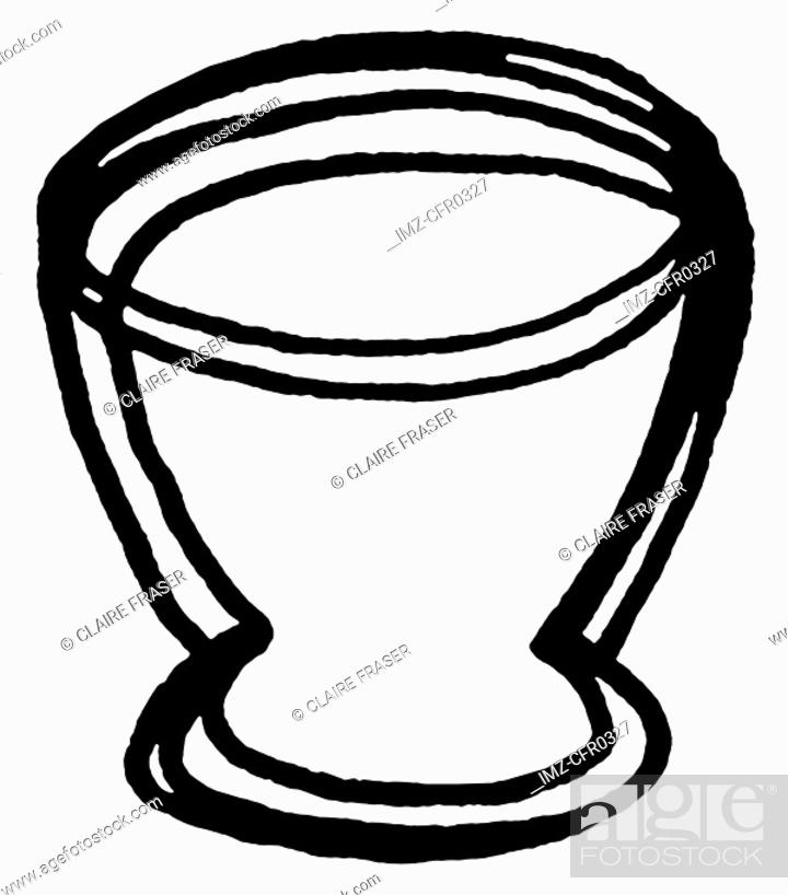 Stock Photo: A black and white illustration of an egg cup.