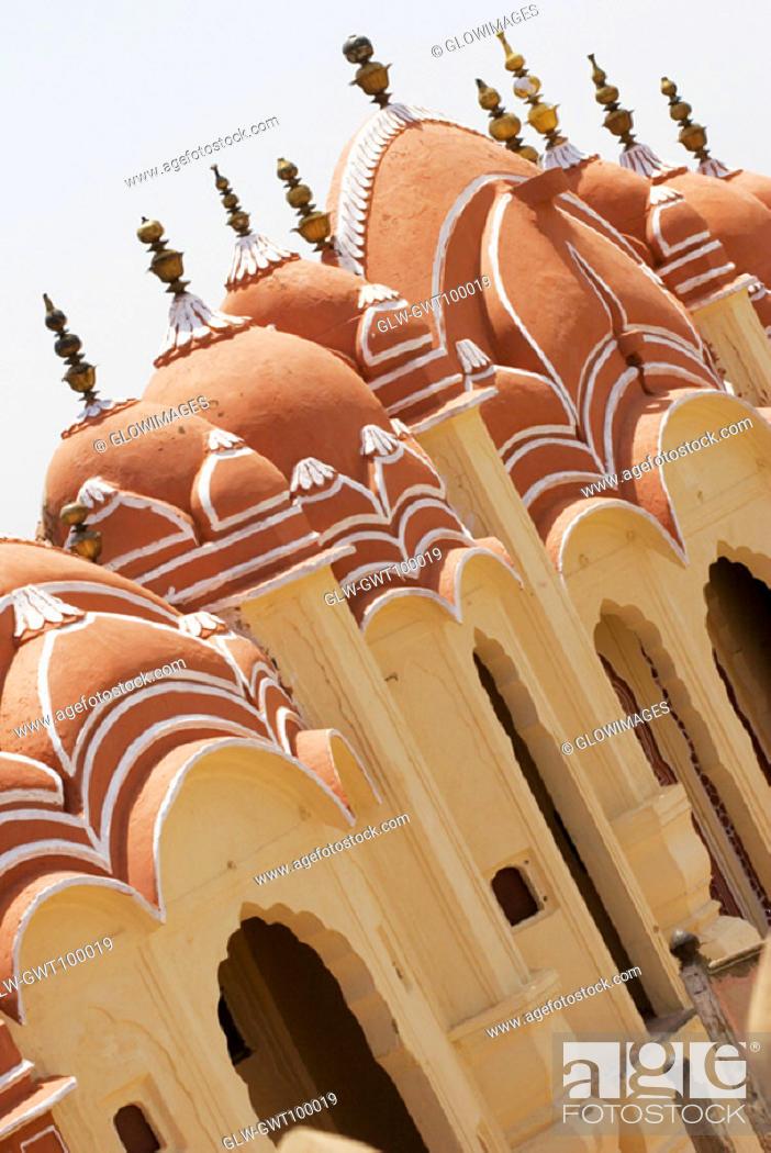 Stock Photo: High angle view of a palace, Hawa Mahal, Jaipur, Rajasthan, India.