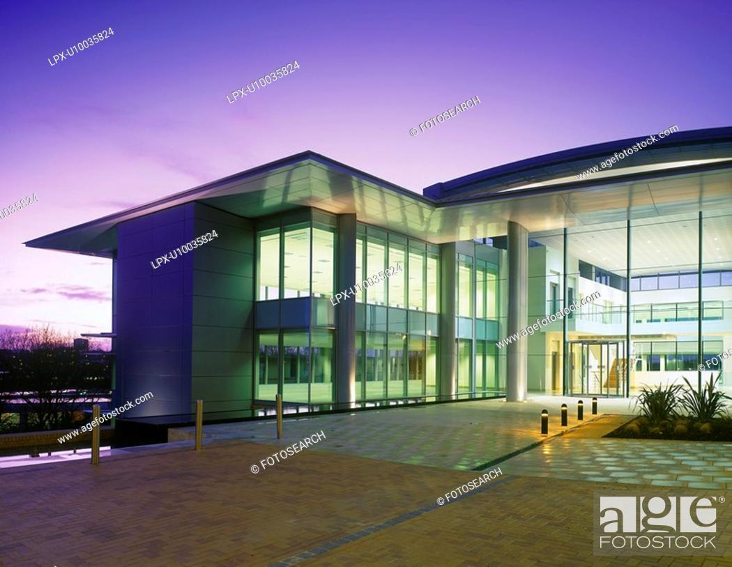 Stock Photo: Modern glass office building.