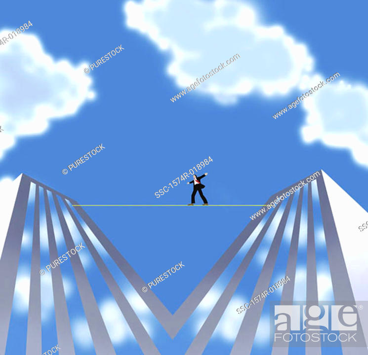 Stock Photo: Man on a Tightrope 2004 Linda Braucht (20th C. American) Computer graphics.