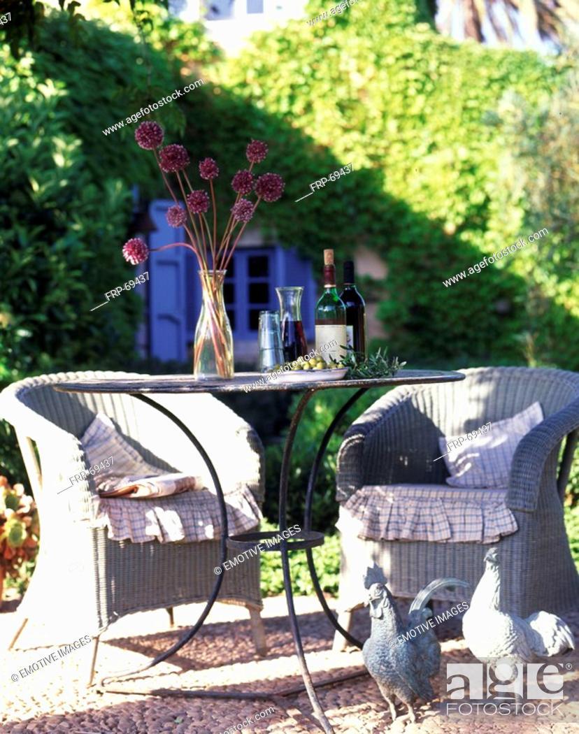 Stock Photo: Garden table on the terrace.
