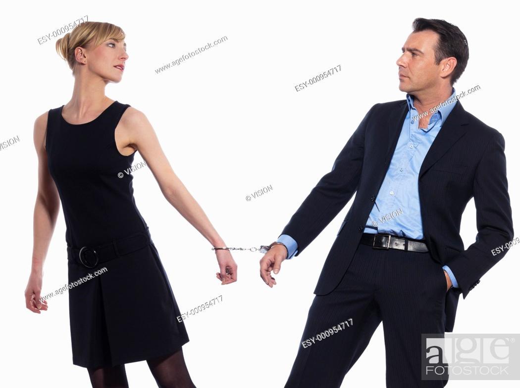 Stock Photo: beautiful caucasian couple on studio white background.