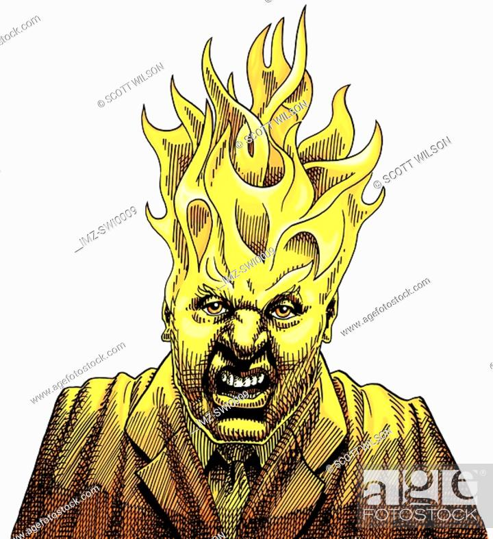 Stock Photo: Angry businessman with fire flames protruding from his head.