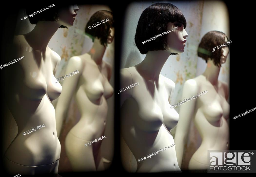 Stock Photo: two mannequins of naked woman.