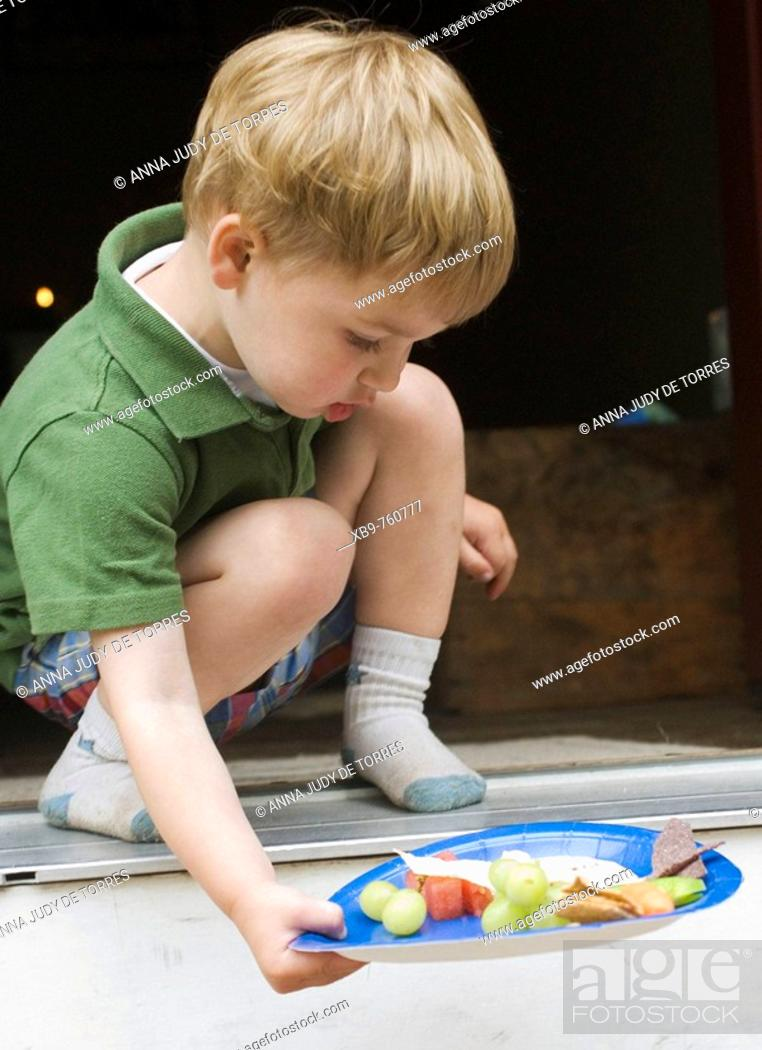 Stock Photo: A small boy with a plate of food.