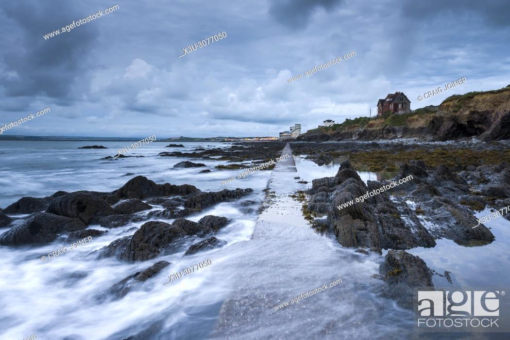 Stock Photo: The rocky shore at Westward Ho, North Devon, England.