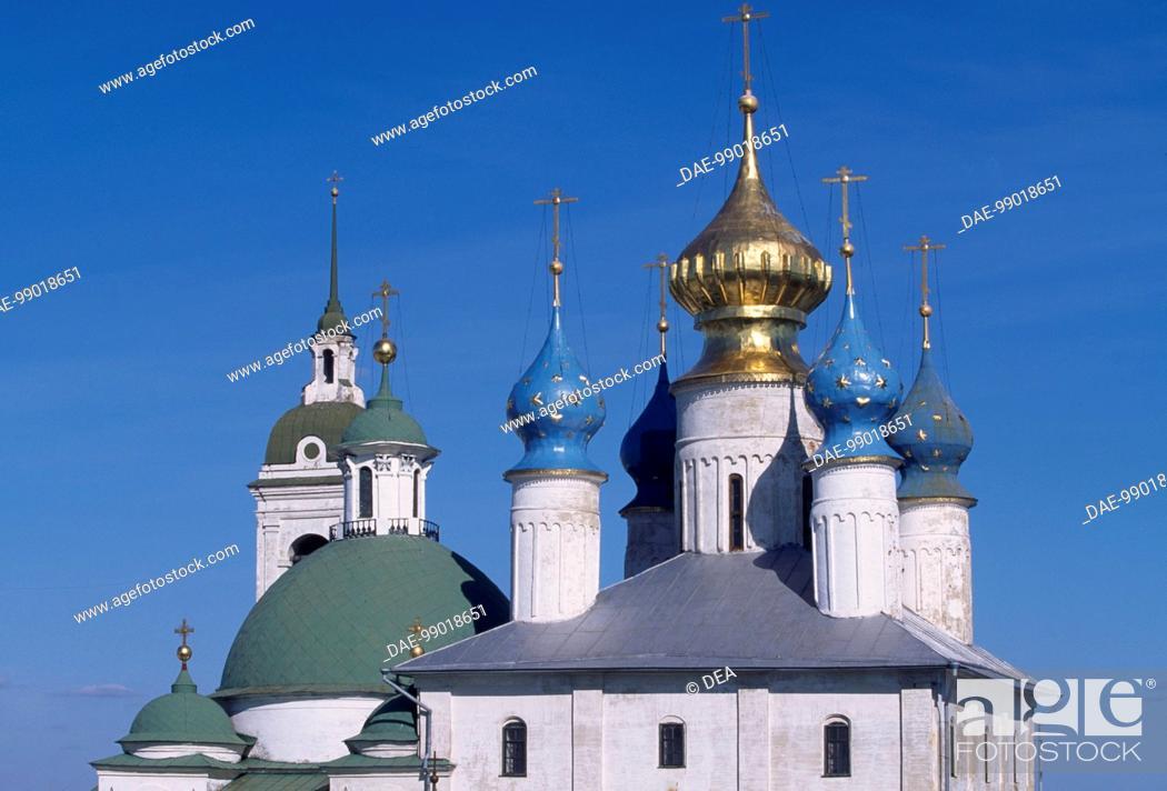 Stock Photo: Detail of the domes of Spaso-Jakovlevskij Monastery, Rostov, Russia.