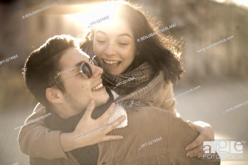 Photo de stock: young teenage lovers outdoors in Cottbus, Brandenburg, Germany.