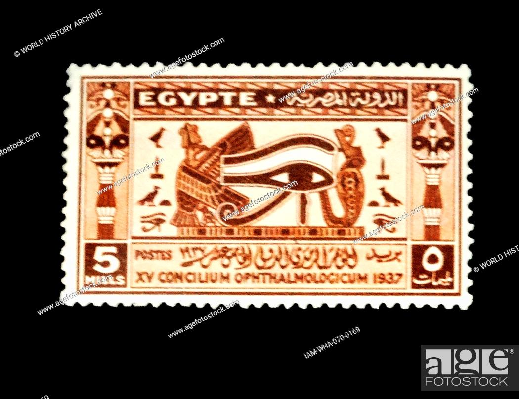 1937 Egyptian Postage Stamps With Symbols Of The Eye Of Horus Stock