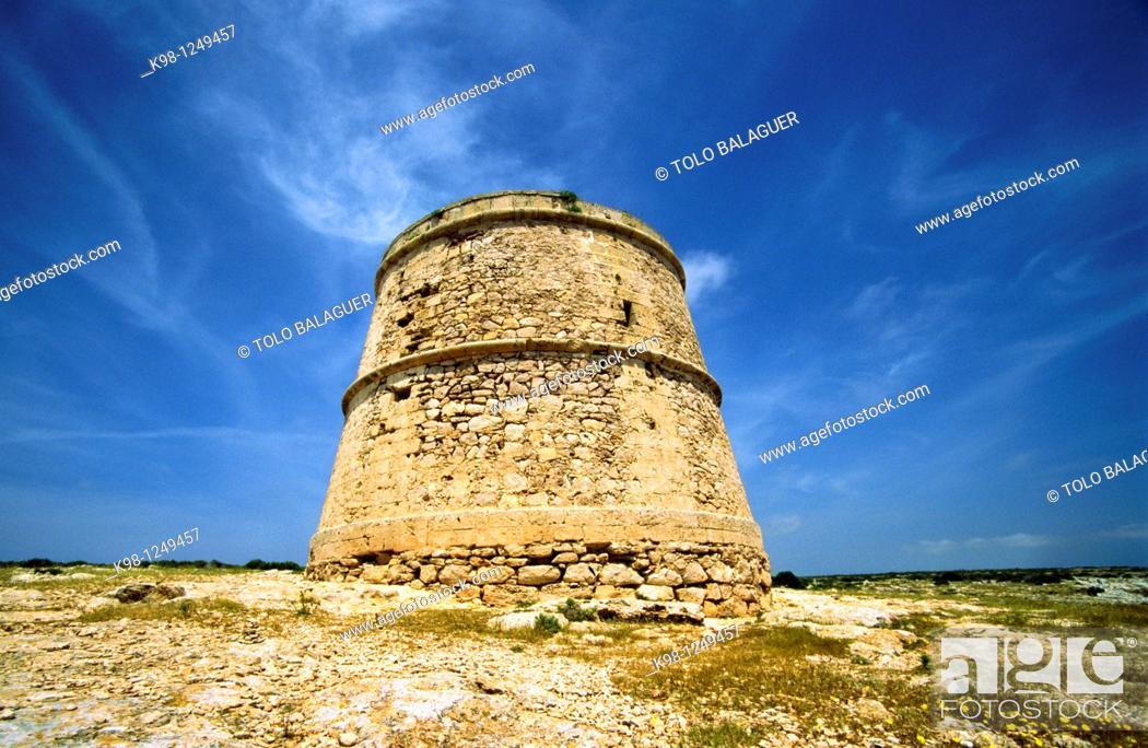 Stock Photo: Torre des Garroveret  (Garroveret watchtower), 18th Century, Cap de Barbaria, Formentera, Balearic Islands, Spain.