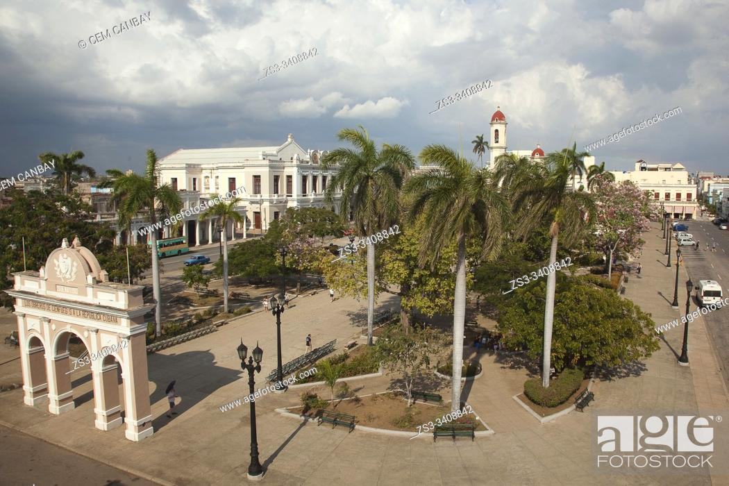 Stock Photo: View to the Tomas Terry Theatre-Teatro Tomas Terry, Arco de Triunfo-Triumpf Arch and Cathedral at Jose Marti Park, Cienfuegos, Cuba, West Indies.