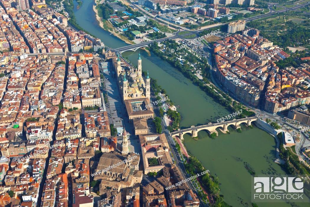 Stock Photo: Basilica Cathedral Our Lady of The Pillar  Zaragoza Town  Ebro River, Aragon, Spain, Europe.