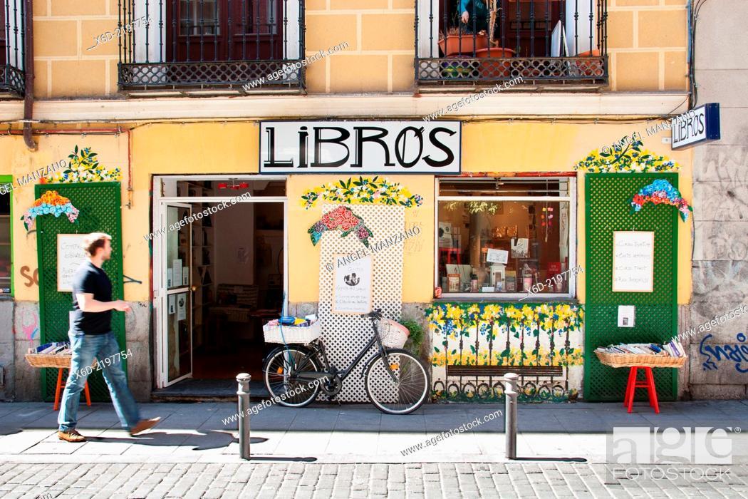 Stock Photo: Secondhand book shop, Malasaña district.