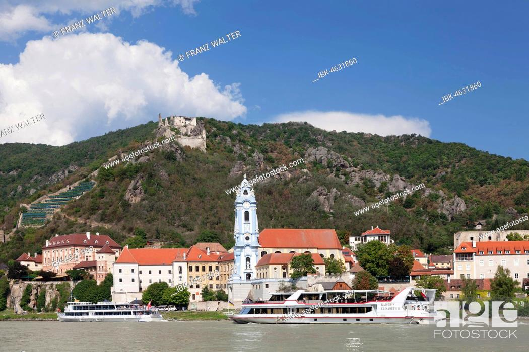 Stock Photo: View over the Danube to Dürnstein with collegiate church and castle ruin, Wachau, UNESCO World Cultural Heritage Site, Austria.