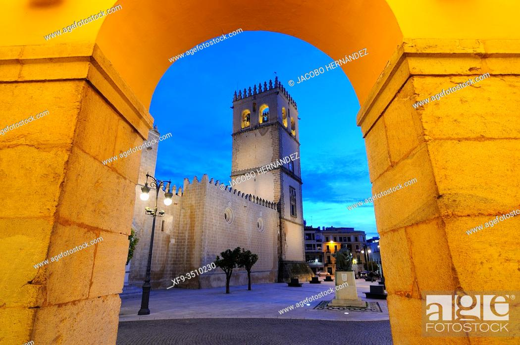 Stock Photo: Cathedral view from the town hall. Badajoz. Extremadura. Spain.
