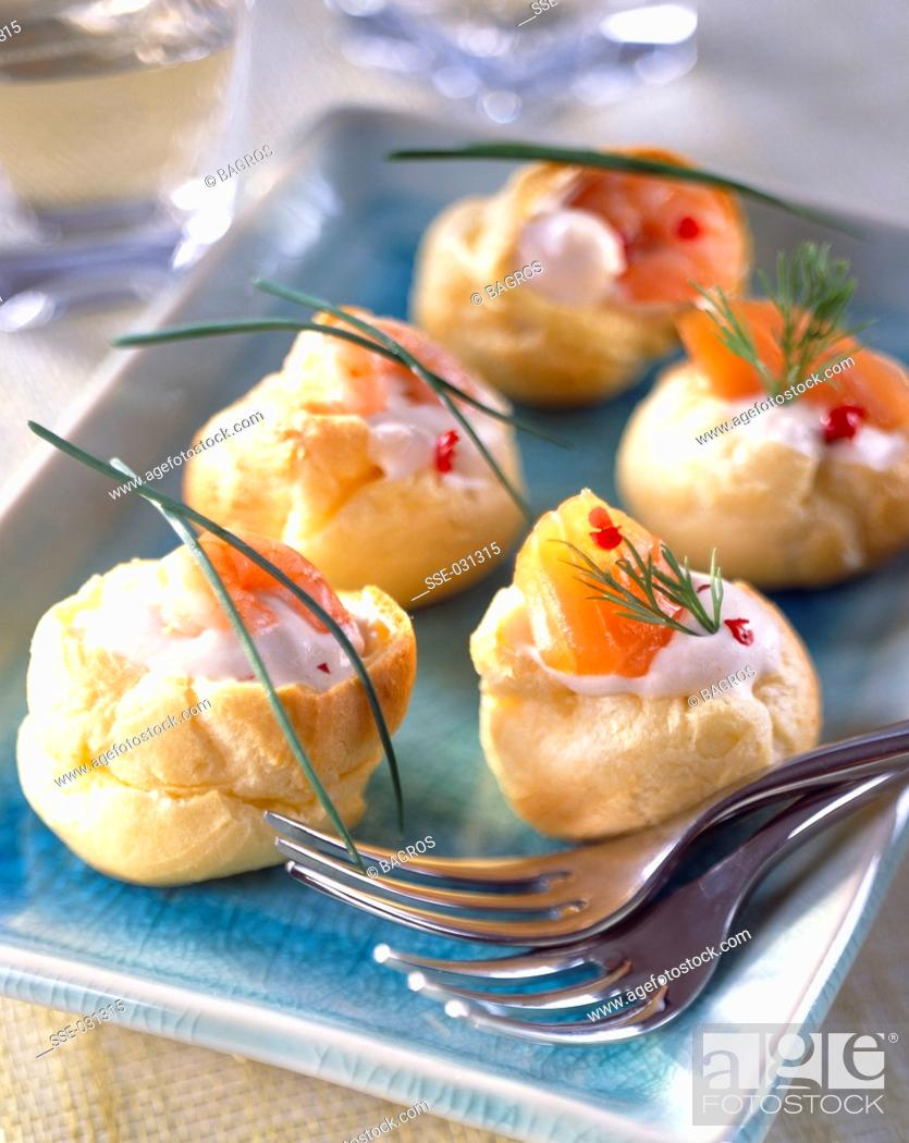 Stock Photo: Assorted mini lobster bisque chou pastry puffs.