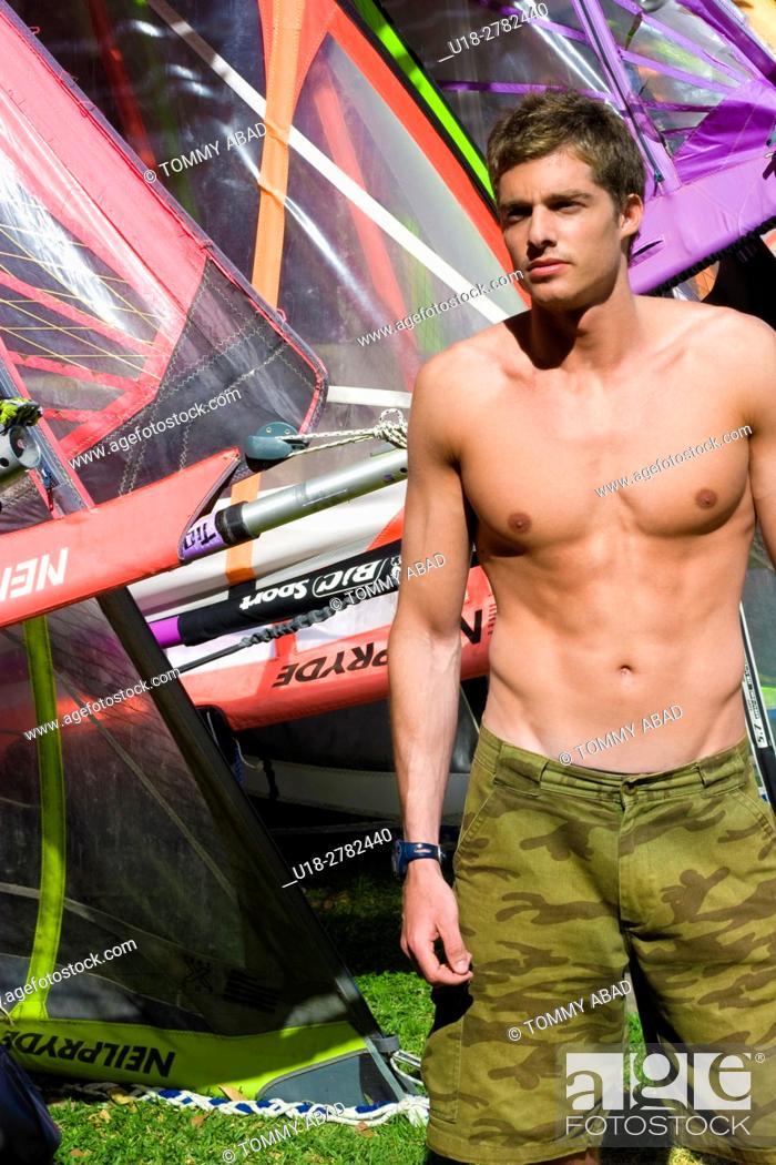 Stock Photo: windsurf hot male.