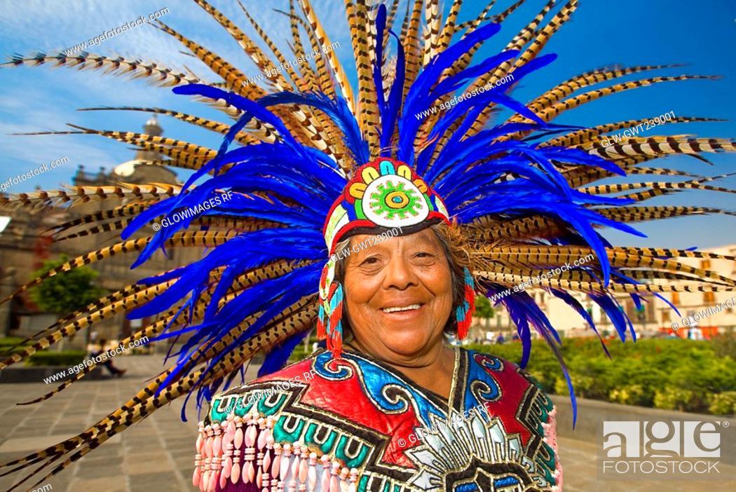 Stock Photo: Portrait of a senior woman smiling, Zocalo, Mexico City, Mexico.