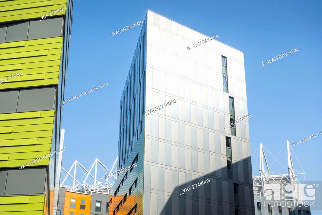 Stock Photo: Modern accommodation for university students near Newcastle United`s stadium in Newcastle upon Tyne, England, United Kingdom.