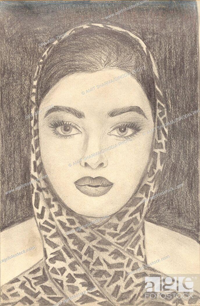 Stock Photo: Painting , illustration , drawing black and white monochrome sketch of Indian bollywood actress Aishwarya Rai , India.