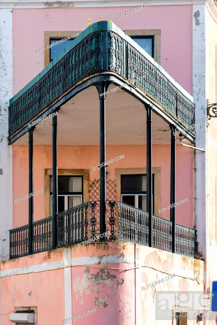 Stock Photo: Balcony in the shape of a ship's bow in the Graça district of Lisbon.