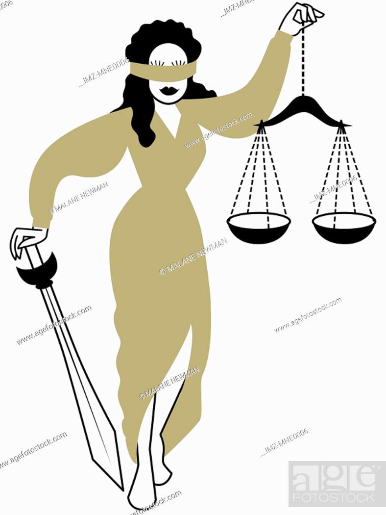 Stock Photo: An illustration of Lady Justice blindfolded, holding scales and a sword.