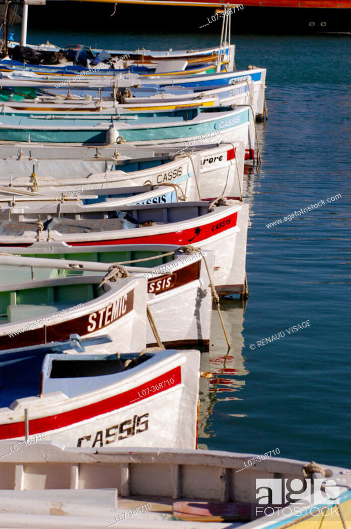 Stock Photo: Painted boats in the Port of Cassis. Cassis. France.