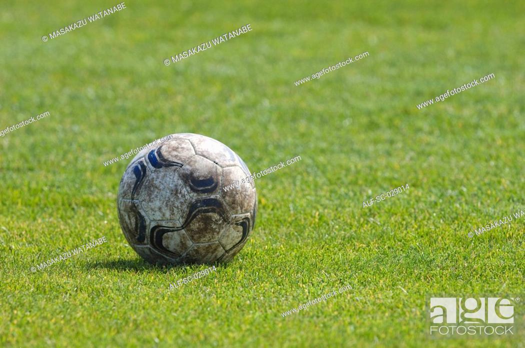 Stock Photo: Dirty Soccer Ball.