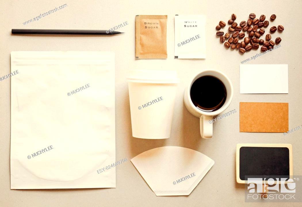Stock Photo: Coffee identity branding mockup set with retro filter effect.