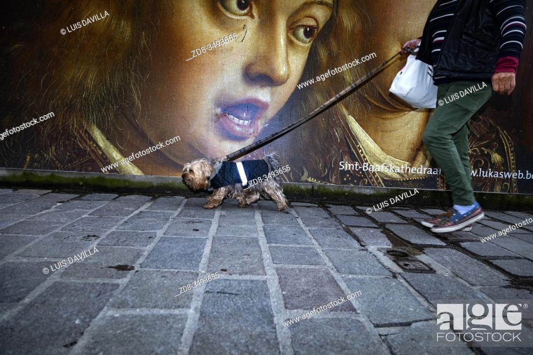 Stock Photo: Street poster of the Van Eyck 2020 commemoration. Ghent. Belgium.