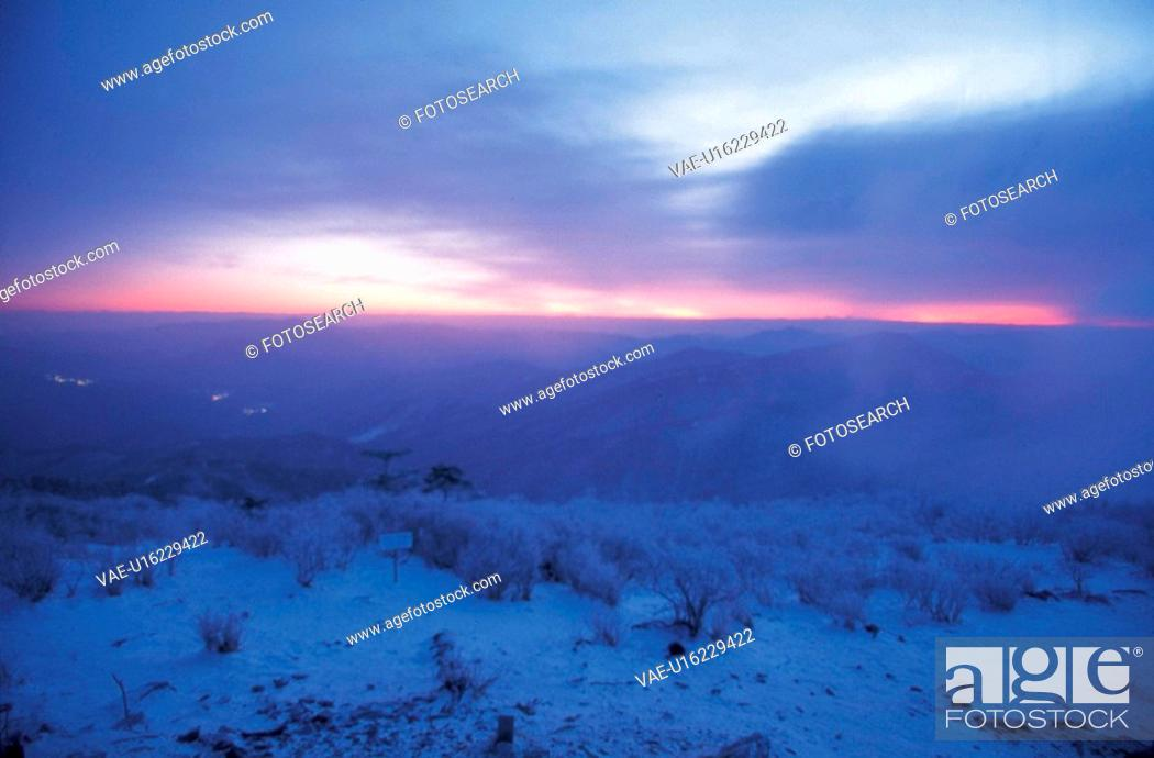 Stock Photo: sky, scenery, snow, top, mountain, season, nature.