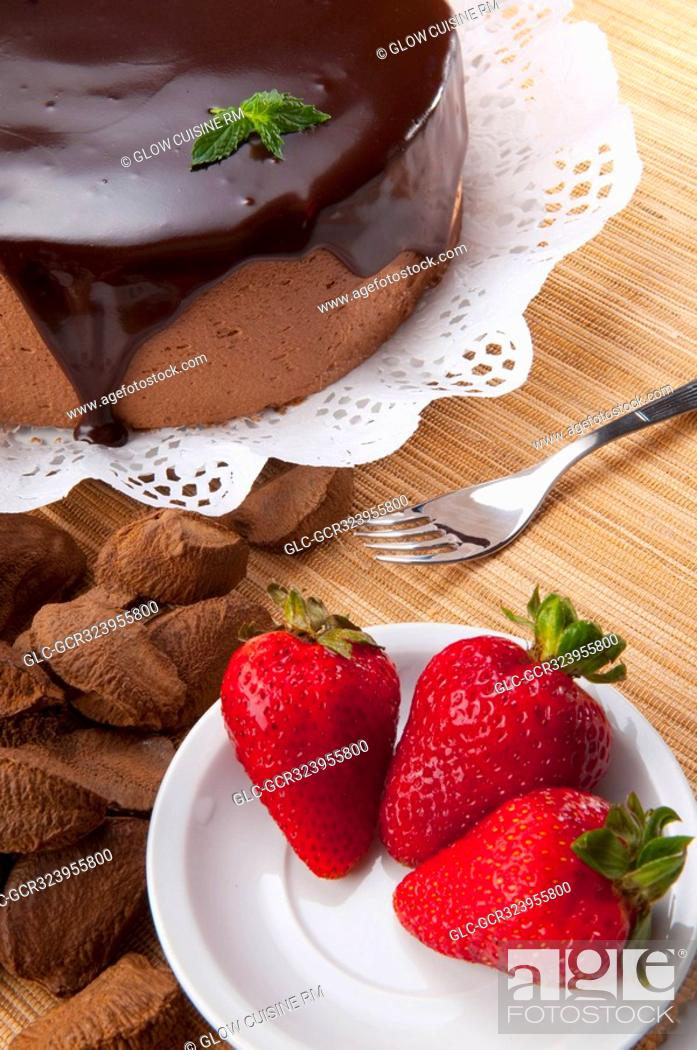 Stock Photo: High angle view of chocolate cake and strawberries.