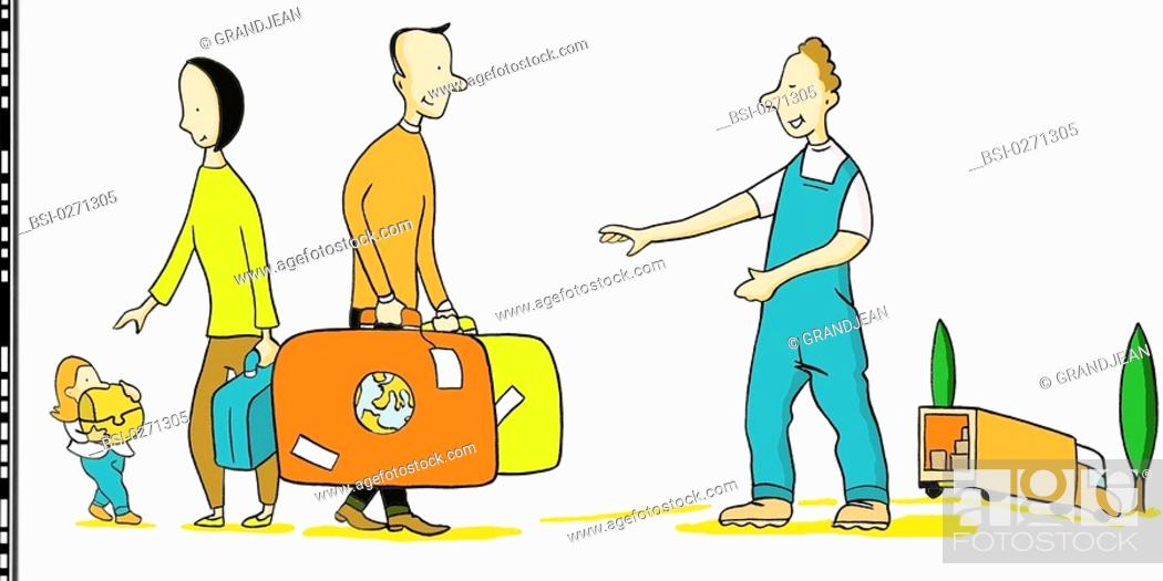 Stock Photo: MOVING<BR>Moving out/moving in.