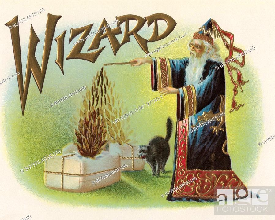 Stock Photo: A vintage cigar label featuring a wizard using his magic wand to make tobacco rise from two bales as his familiar watches.