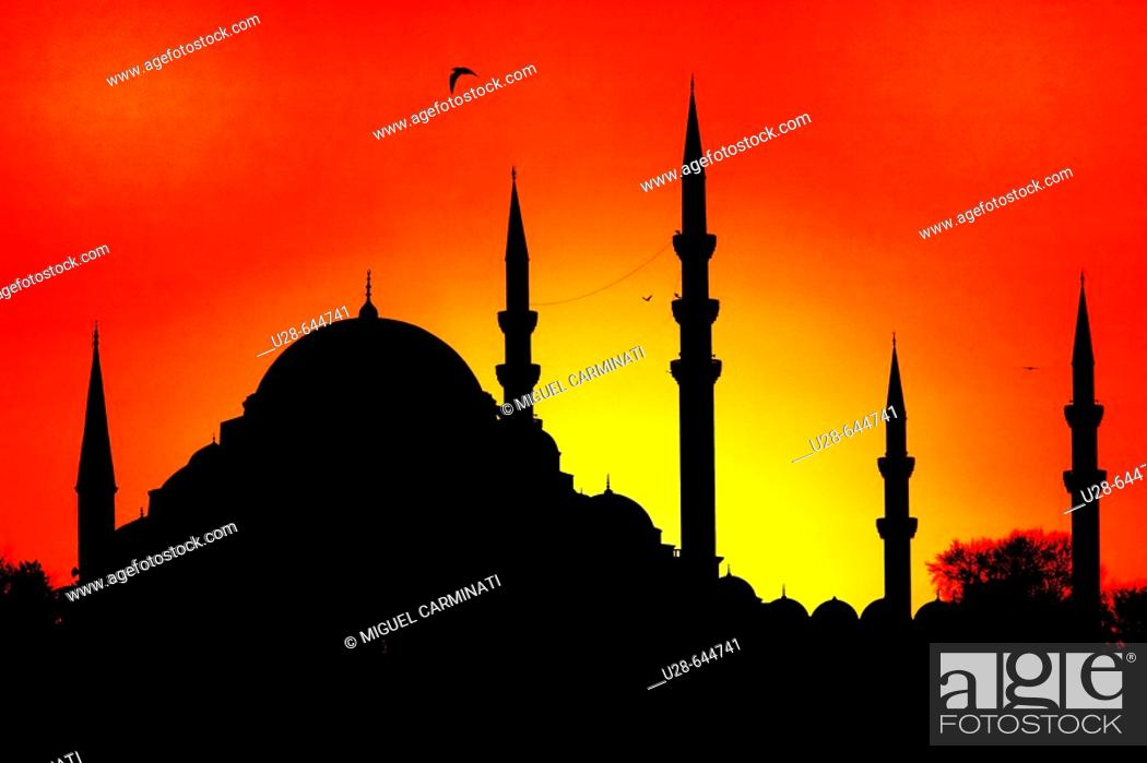Stock Photo: The Fatih Mosque Complex is a large mosque with its many dependencies in the Fatih district of Istanbul, Turkey. Fatih Sultan Mehmed the Conqueror had the.