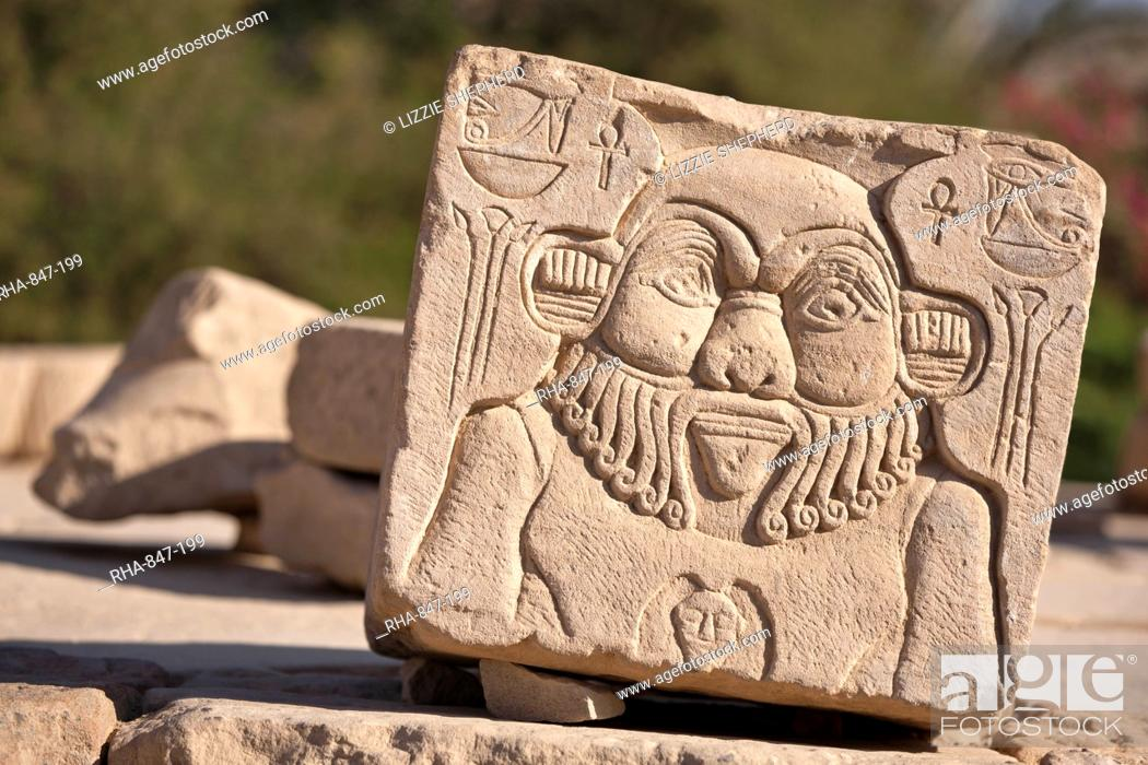 Stock Photo: Relief of the god Bes at the Temple of Hathor, Philae, UNESCO World Heritage Site, Nubia, Egypt, North Africa, Africa.