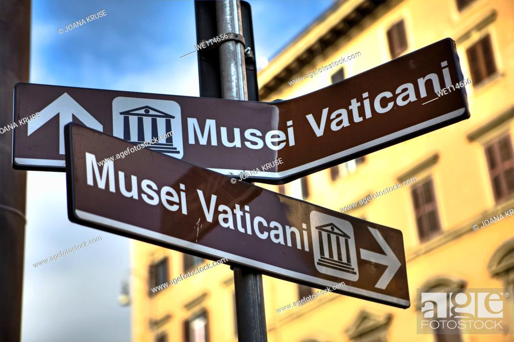 Stock Photo: Confusing signage in Rome, Lazio, Italy.