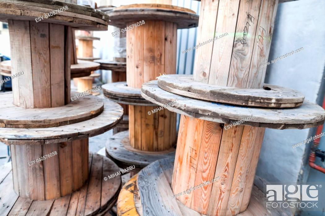 Stock Photo: Close up shot of some big empty cable reels.