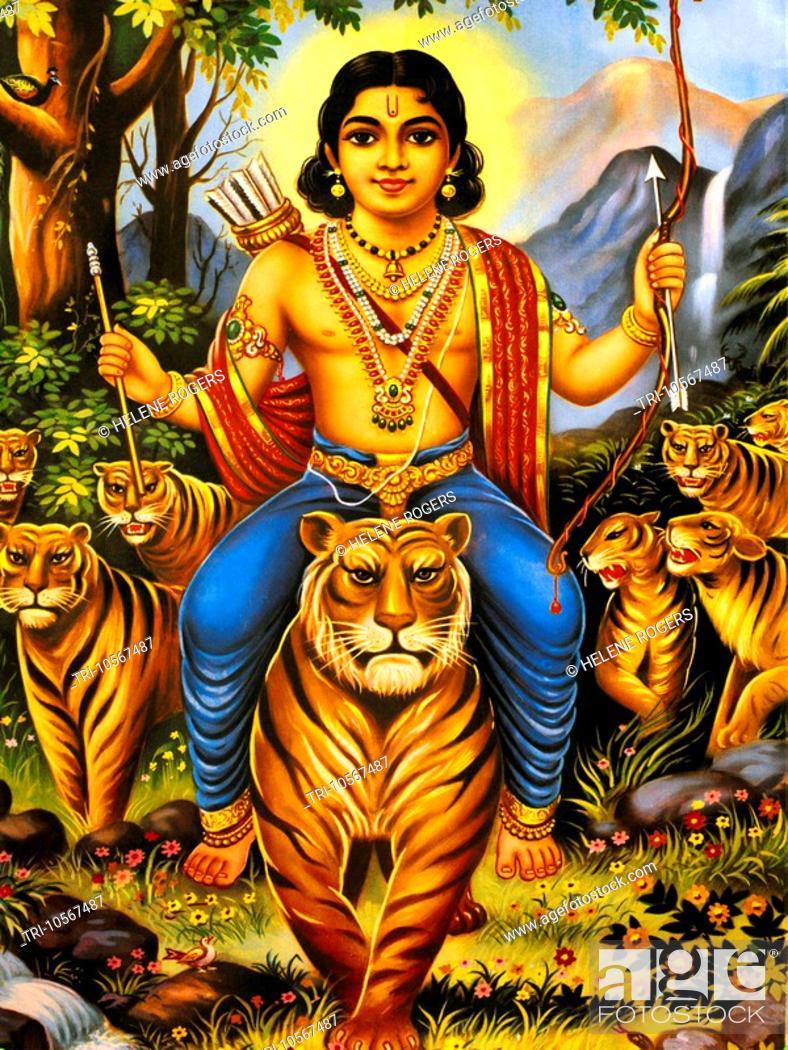 Stock Photo: Ayopa Hindu God with Bow and Arrows.