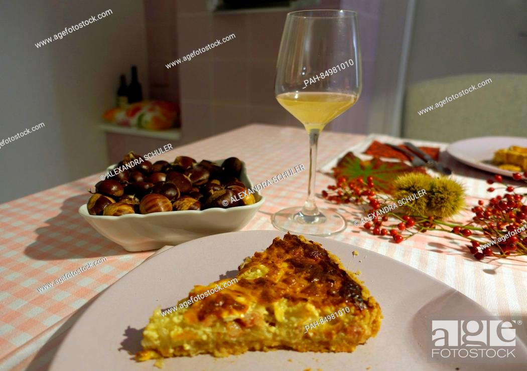 Stock Photo: A piece of onion cake lies on a plate in Oberkirch, Germany, 13 October 2016. The savoury cake is mostly eaten in southern Germany, in Switzerland and in Alsace.