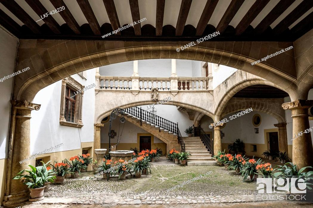 Stock Photo: Courtyard of a mansion in the historic part of Palma de Mallorca, Majorca, Spain.