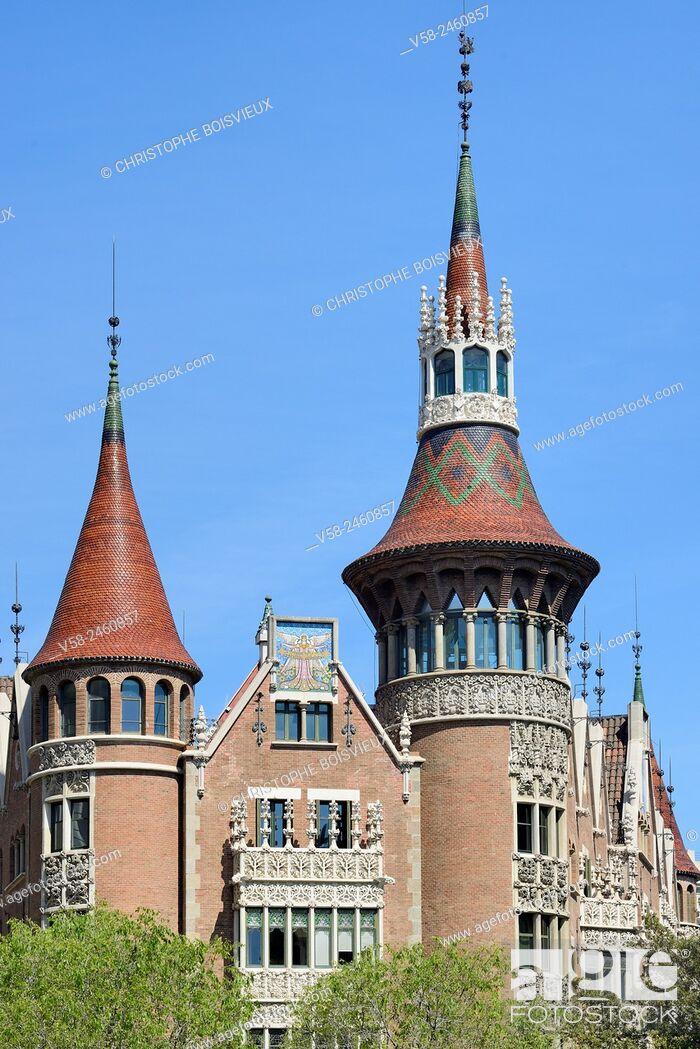 Stock Photo: Spain, Catalonia, Barcelona, Casa de les Punxes, also called Casa Terrades, build by architect Josep Puig i Cadafalch (1905).