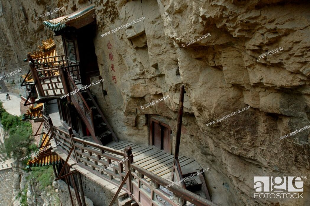 Stock Photo: Buddhist Hanging Monastery on the side of Mount Heng in Shanxi, China.